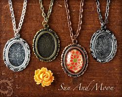 small pendant diy kit cute necklace kit includes pendant setting necklace glass cabochon jump ring
