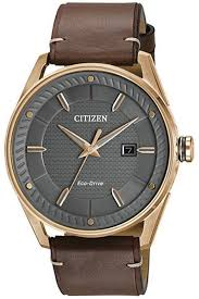 men s citizen check this out dark brown leather band watch bm6983 00h loading zoom