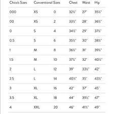 Chicos Unique Size Chart Nwt