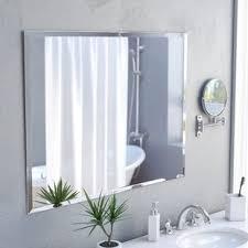 bathroom mirrors. Marylee Rectangle Beveled Polish Frameless Wall Mirror With Hooks Bathroom Mirrors T