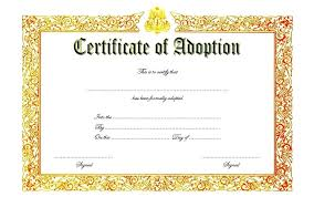 Adoption Certificate Template Adoption Certificate Template 3 Pet Printable Verbeco Adoption