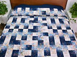 Fabric Maze Quilt -- superb adeptly made Amish Quilts from ... & King Navy Blue Fabric Maze Quilt Photo 1 ... Adamdwight.com