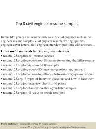 top8civilengineerresumesamples 150424212259 conversion gate02 thumbnail 4 jpg cb 1429928633
