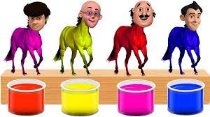 Bathing Colors Fun L Motu Patlu Gattu Battu Heads Horse L Colors