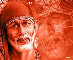 Shirdi Sai Baba 3D With Red Background ...