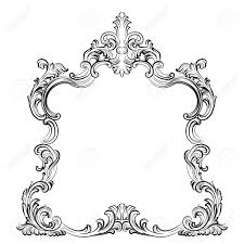 mirror frame drawing. Brilliant Drawing 1300x1300 Luxury Baroque Rococo Mirror Frame Set Vector French Throughout Drawing 0