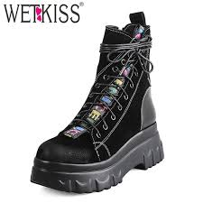 <b>WETKISS</b> Cow Suede <b>Women Ankle</b> Boots Cross Round Toe Cross ...