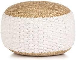 vidaXL <b>Woven</b>/<b>Knitted Pouffe Jute</b> Cotton 50x35cm White Foot Rest ...