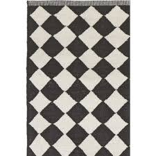 diamond black white cotton rug