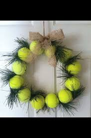Tennis Ball Wreath w Burlap Ribbon Twine Holder Gift Captain Pro Friend  Holiday Winter Christmas Door Wall Window Decoration Racquet Court