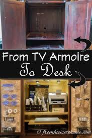 project organized home office armoire. How To Convert A TV Armoire Desk | Www.fromh2h.com Project Organized Home Office E
