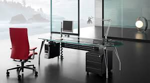 modern black glass computer desk