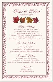 Autumn Dinner Menus Maple Leaf Pattern Autumn Wedding Menu Cards And Fall Reception