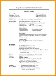 Objective In Internship Resume Summer Internship Resume Template Resume Template Internship 74