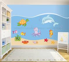 Adesivi murali bambini decorazioni camerette kit il mondo marino