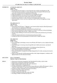 Pr Assistant Resume Samples Velvet Jobs