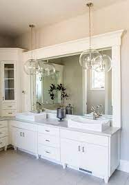 Although I Like The Idea Of An Led Mirror I Like These 2 Large Pendants Hanging In Front Of Large Bathroom Pendant Elegant Bathroom Bathroom Pendant Lighting