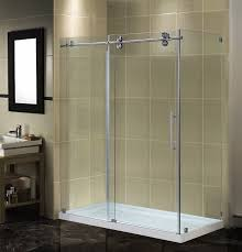 aston completely frameless sliding shower door enclosure with low profile base