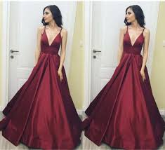 Simple Elegant Simple Elegant Long V Neck Burgundy Open Back Prom Dresses