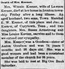 Death of Mrs. Winnie Goodson Keener (sister of Aaron Goodson). The Lincoln  Journal - 7 July 1899. - Newspapers.com