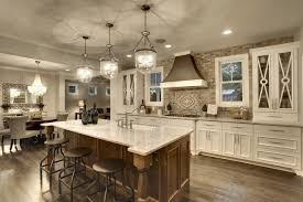 kitchen island ideas with sink. Contemporary Ideas An Elegant White And Wood Kitchen With A Stone Backsplash Glassfaced  Cabinets On Throughout Kitchen Island Ideas With Sink