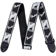 new fender monogrammed guitar strap w leather ends black light grey