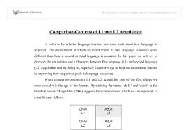 L1 And L2 Comparison Contrast Of L1 And L2 Acquisition University