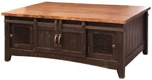 black eliza barn door coffee table