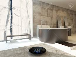 Moderne Luxus Badezimmer Interieur In Beige Und Braun Mit Einem