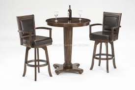 ambassador bar height pedestal table at hilale furniture with 2 pieces cappuccino finish pub style chairs