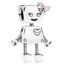 <b>New 925 Sterling Silver</b> Bead Charm Cute Bella Bot A Big Heart And ...