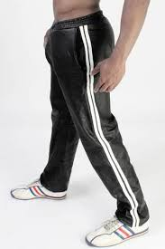 men s real leather jogging pants real leather sports trousers in 3 colors stripe