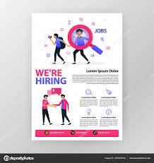 Announcement Poster Open Vacancy Hiring Vector Flat Cartoon
