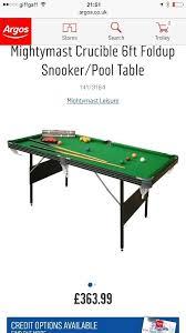 mightymast crucible 6ft foldup snooker pool table