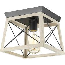progress lighting briarwood 9 5 in 1 light graphite flushmount with faux painted wood