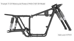 triumph t120 motorcycle frame 1968 cad solid 3d model youtube