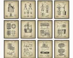 wine patent print set of 12 wine inventions oenology winemaker wine wall art vintner wine bar decor pub decor vineyard art on wine bar wall art with wine wall art etsy