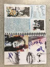 gcse art sketchbook art artist research page on gabriel moreno livvy coombs
