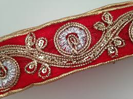 Decorative Fabric Trim Indian Handmade Thread Embroidered Designer Trim Sequins And