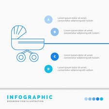 Trolly Baby Kids Push Stroller Infographics Template For Web Baby