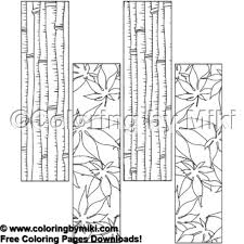 Bamboo And Maple Pattern Bookmark Coloring Page 1815 Coloring By Miki