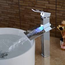 led water flow chrome waterfall bathroom sink faucet color changing single handle single hole basin mixer