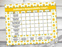 Girl Chore Chart Printable Girl Reward Chart Responsibility Chart Weekly Chore Chart Behavior Chart Chart For Girls You Edit Pdf