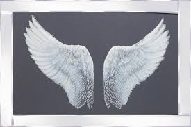 silver glitter angel wings mirrored frame 100x60cm zoom