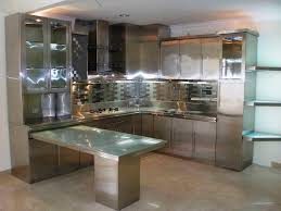For Large Kitchen With Metal Kitchen Cabinets Also Chic Backsplash