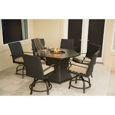 hanover outdoor aspen creek 7 piece fire pit dining set natural oat com