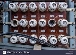 an old fuse panel with ceramic fuses from east germany seen in the 20A 250V Ceramic Fuse an old fuse panel with ceramic fuses from east germany seen in the former 'people's swimming pool' in the district of lankow in schwerin, germany,