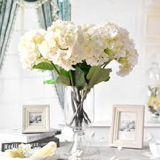 Decorating Ideas White Flower Vases Agreeable Accessories For Home Design  Using Round Tapered Clear Glass Hydrangea ...