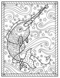 Narwal Kerst Kleurplaten Paginas Volwassen Kleurboeken Digi Stempel Walvissen Digitale Bestanden Jpg