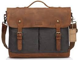 vaschy leather canvas messenger bag
